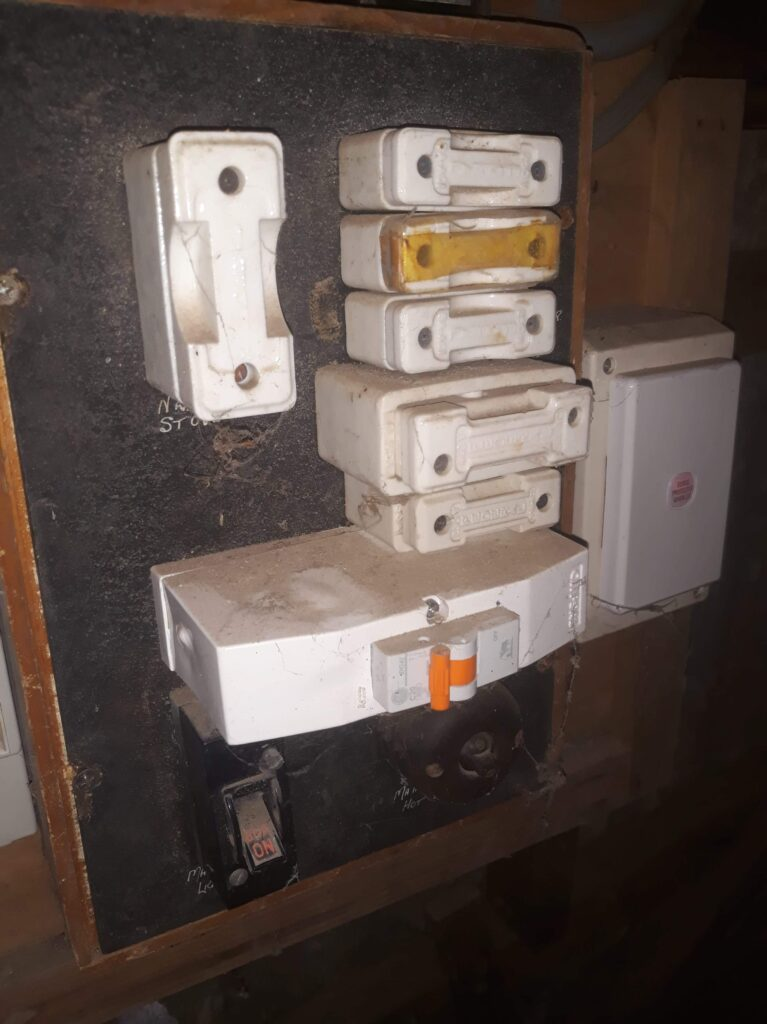 Old electrical switchboard before upgrading