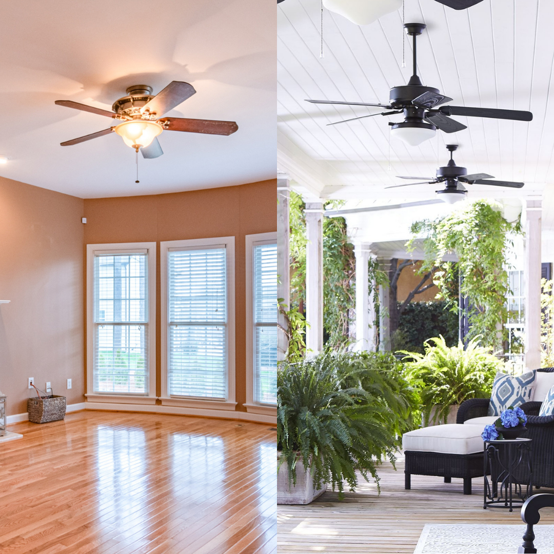 Enjoying the cool breeze on the patio sounds like a good afternoon. Make sure that you won't put your indoor ceiling fans outside to face the elements. Read to find out about indoor vs outdoor fans!